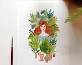 The Conservatory - Original 6 x 8 Mixed Media Illustration