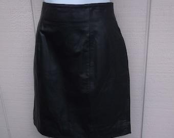 Vintage 80s Black Leather Mini Skirt /  size 26 Waist - sml