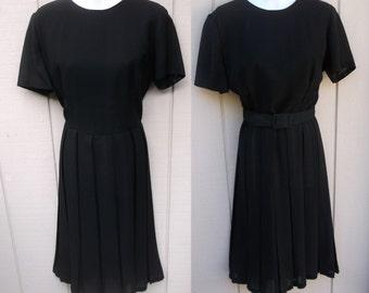 Vintage 50s to 60s Little Black Dress with Pleat Skirt / Midcentury Late 1950s Secretary Dress // Sz Med