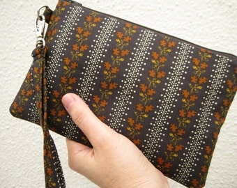 Wedding Clutch 2 pockets,medium,brown,discount plan set, wristlet, cotton - dark brown