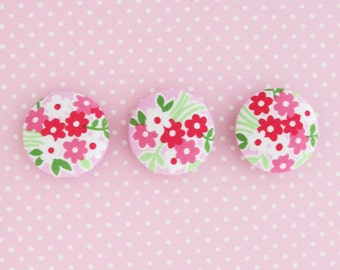 1.25 Inch Buttons | 3 Pink Floral Print Fabric Covered Buttons | 32mm Large Pink Buttons