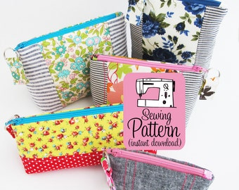 Intro to Improv Zip Pouches PDF Sewing Pattern |  Intermediate pattern to make zipper pouches in five sizes with a zip pull.