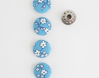 Fabric Covered Buttons 1 Inch | 4 Floral Fabric Shank Buttons | Blue on Blue Floral Fabric 25mm Buttons