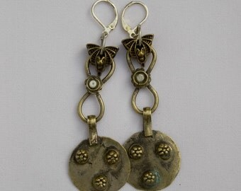 Tribal Bat and Coin Earrings