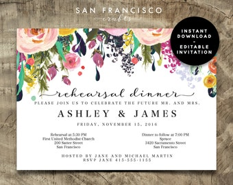 Rehearsal Dinner Invitation INSTANT DOWNLOAD |  Editable Rehearsal Dinner, Wedding Rehearsal Invite Template | Ashley | Printable PDF