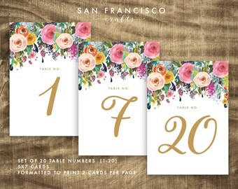 Floral Table Numbers, Wedding, Gold, Printable, 1-20, 5x7 AND 4x6 - Ashley - DIY Instant Download PDF File