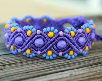 REDUCED Micro-Macrame Beaded Bracelet - Blue, Purple, Yellow