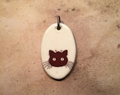 Porcelain Ephemera Pendant with Vintage Image of Spooky Cat