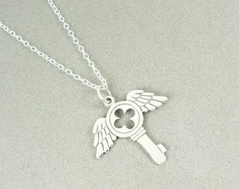 Flying Key Winged Charm Necklace Sterling Silver Jewelry Gothic Harry Potter Inspired Personal Talisman Inspirational Take Flight
