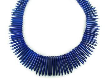 Lapis Blue Howlite Graduated Sticks Gemstone Beads