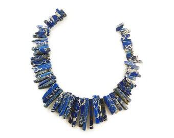 Blue Imperial Jasper Graduated Sticks Gemstone Beads