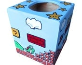 Mario Hand Painted Tissue Box Holder Nintendo Geekery 8 Bit Video Game Arcade Dad Grad Gift