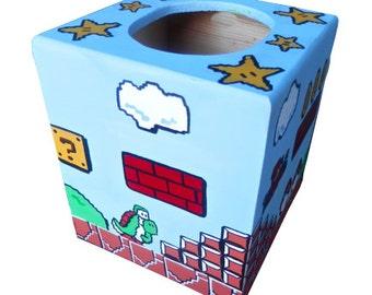 Mario Hand Painted Tissue Box Holder Nintendo Geekery 8 Bit Video Game Arcade Dad Grad Gift