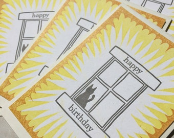 Six small cat window letterpress birthday cards