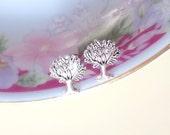 Tree of Life Earrings, Silver Tree Earrings, Silver Metal Earrings, Metal Post Earrings, Hippie Boho Earrings