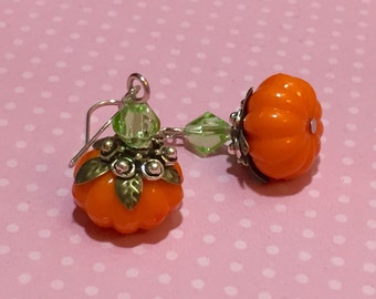 Thanksgiving Earrings, Lightweight Acrylic Pumpkin Earrings, Mixed Metals, Orange Pumpkin Earrings, Quirky Earrings, Fall Earrings, Autumn