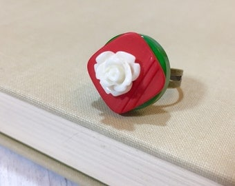 Christmas Statement Ring Made With Vintage Buttons in Red and Green, White Icing Rose Flower,