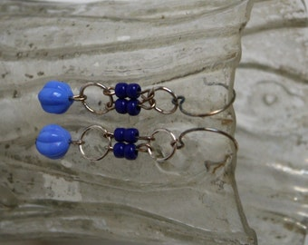 Cornflower Blue and Silver Glass Bead Dangle Earrings