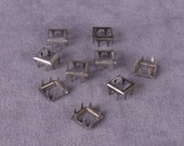 Square Silver Metal Open Stud - 9mm - 50 Pieces (MOS9SS-50)