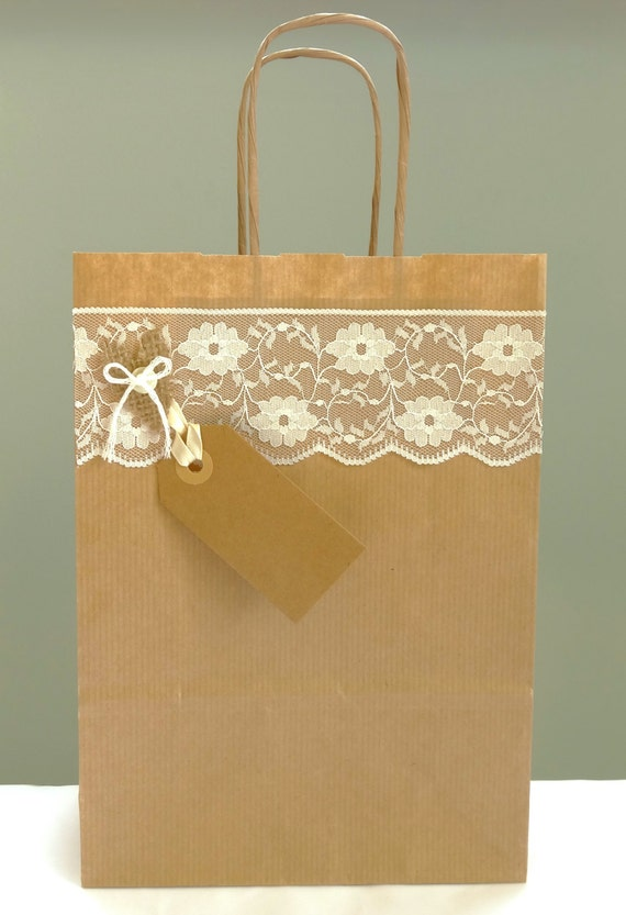 gift bag - hessian and lace shabby chic wedding favour - Bridal party ...