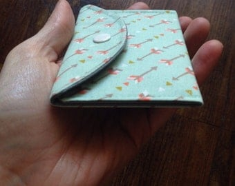 Mint Green Arrows Cotton Card Case