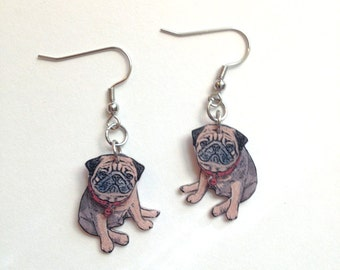 Handcrafted Plastic 3D Fawn Pug Earrings