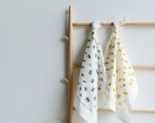 Screen Printed Tea Towel - Crowns on White Linen (ecofriendly charcoal or mustard ink)