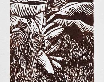 Tropical Garden (El Jardin) / Linocut / Hand-pulled Print / by Diane Cutter