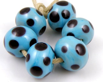 Turquoise Blue and Black Polka Dots - Handmade Artisan Lampwork Glass Beads 8mmx12mm - SRA (Set of 6 Beads)