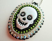 Beaded Green Skull Necklace