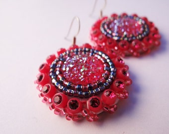 Sparkly Pink & Purple Beaded Earrings