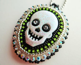 Beaded Green Skull Necklace