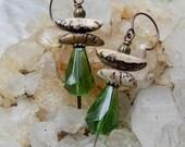 Pagoda Earrings || Green Czech Glass Drops | Natural Salwag Seed | Nature Lover | Earthy | Organic | Wedding Jewelry | Earrings Under 20