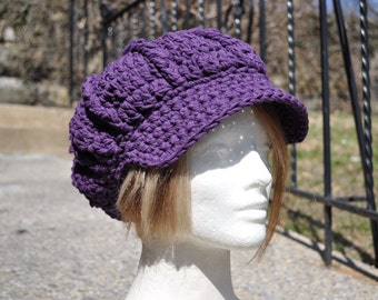 Plum Cotton Sunhat - Newsboy Crochet Hat - Summer Accessories - Purple Hat with Brim - Cotton Hat