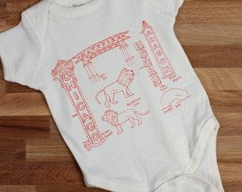 gender neutral baby Chicago baby gift, Chicago landmarks organic cotton one piece, baby gift, baby bodysuit, Chicago gifts, coworker gift