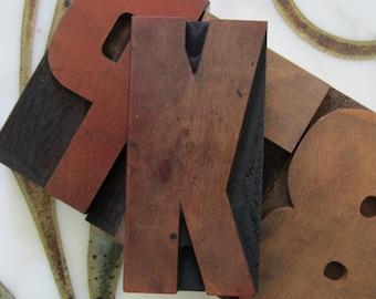 Letter K Antique Letterpress Wood Type Printers Block