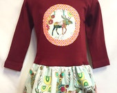 Deer/Moose Applique Girls Dress - Mint and pink on Maroon -  READY TO SHIP
