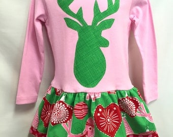 NEW! Girls pink Christmas Dress -Applique Holiday Dress with Deer - christmas boutique outfit