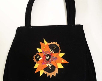 Vintage handbag with my original flower  appliques on each side, black satin fabric, appliques are leather, with threads and beads, artistic