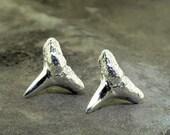 Shark Teeth Earrings, Lookin' Sharp in stud earrings made with sterling silver