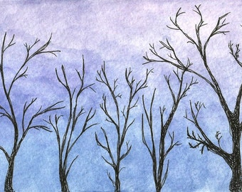 Original Pen and Ink Wash Drawing Trees