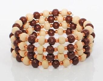 SALE Brown Wood Wraparound Cuff Bracelet Wood You Be Mine - Memory Wire Bracelet - Wood Bracelet
