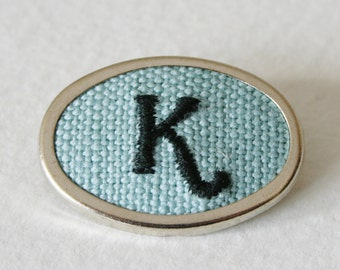 Personalized Initial Letter K Hand Embroidered Brooch