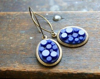 Vintage Cobalt Blue Glass Cab Earrings, antiqued brass findings - Boho Chic - Art Deco