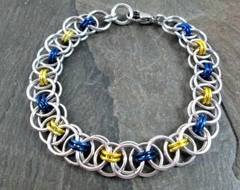Chainmaille Bracelet - Blue and Yellow - Helm Weave - Link Bracelet - Chainmaille Jewelry