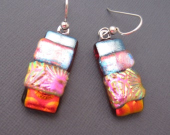 Bright silver red dichroic glass earrings fused glass jewelry long dangle sterling silver ear wires dangle  texture earrings