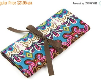 Sale 25% OFF Short Knitting Needle Case Organizer - Woodland Whimsy - brown pockets for circular, double pointed, interchangeable or travel