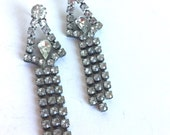 Vintage Clear Rhinestone Earrings - Silver Prong Set Faceted Stones - Teardrop Triangle Long Dangly Sparkly - Formal Party Evening Prom