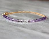 Amethyst Ombre Beaded Bracelet, Amethyst Bracelet, Genuine Gemstone Color Spectrum, February Birthstone, Delicate Style Stacking Jewelry