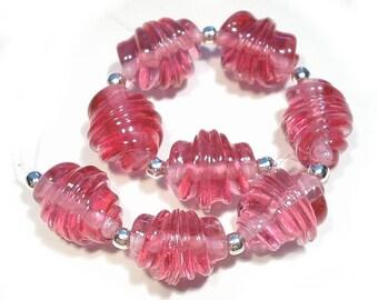 Handmade  Lampwork Beads Streaky Pink Whirled Glass